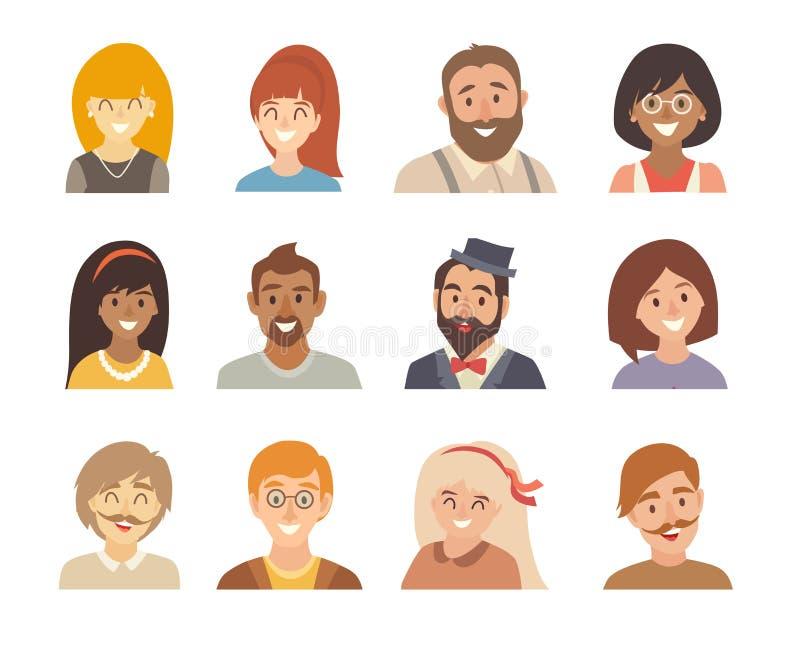 Uppsättning för folksymbolsvektor Lyckliga olika nationaliteter för man och för kvinna Avatars flicka och pojke vektor illustrationer