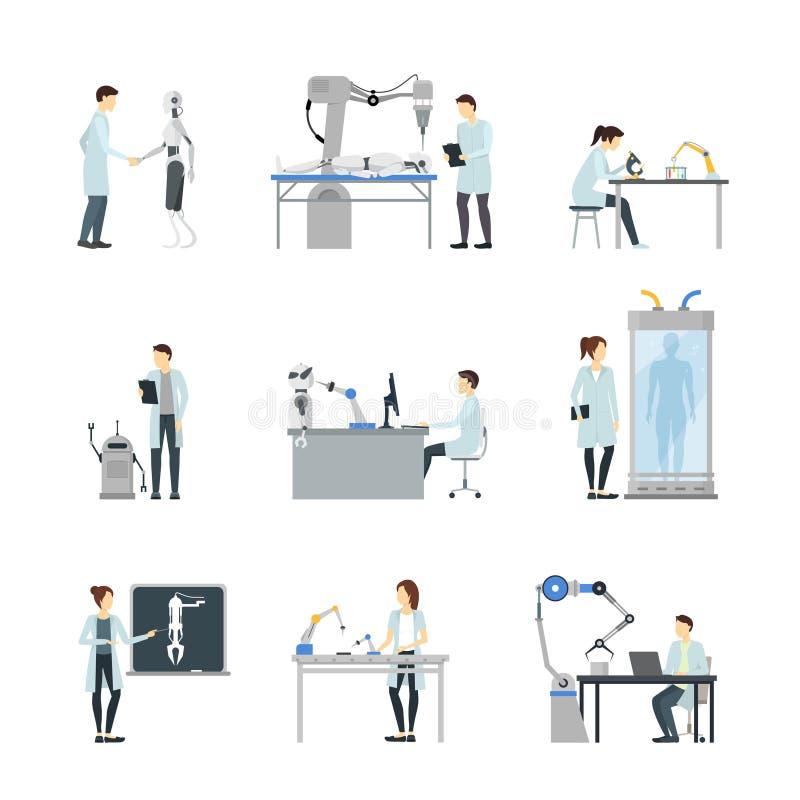 Uppsättning för forskare för konstgjord intelligens för tecknad filmtecken vektor vektor illustrationer
