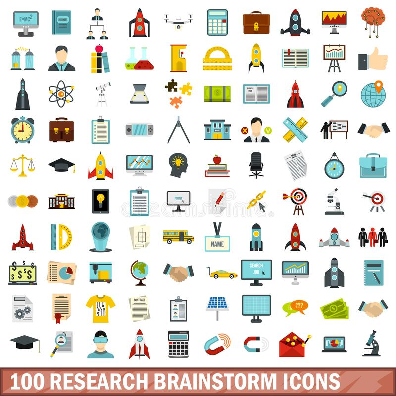 uppsättning för 100 forskningkläckning av ideersymboler, lägenhetstil royaltyfri illustrationer