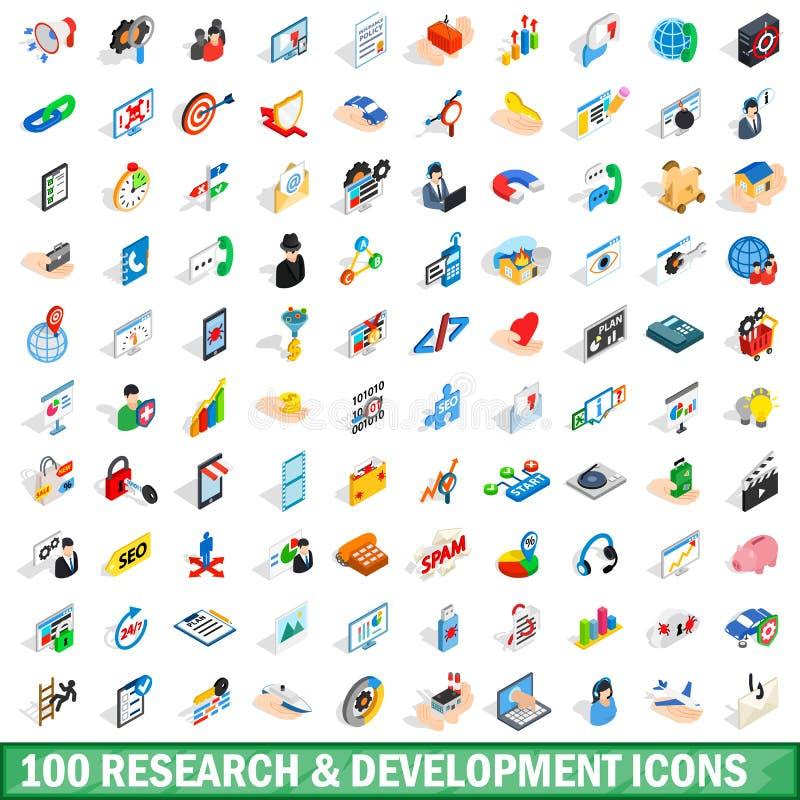 uppsättning för 100 forskningutvecklingssymboler royaltyfri illustrationer
