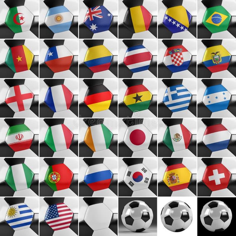 Uppsättning för fotbollboll vektor illustrationer