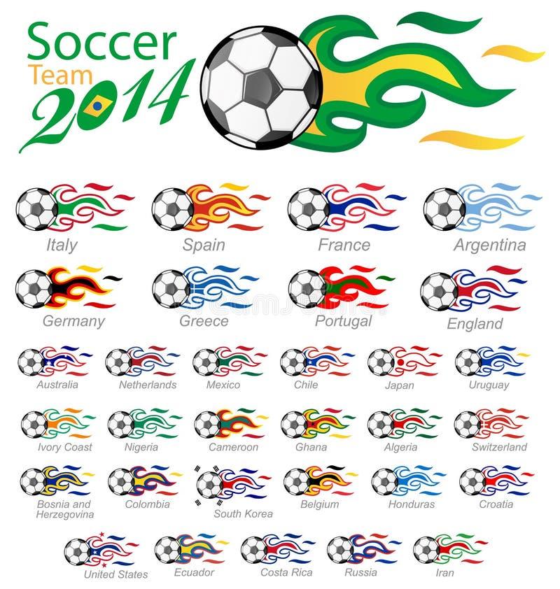 Uppsättning för fotbollboll med flaggaflamman royaltyfri illustrationer