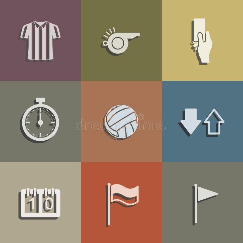 Uppsättning för fotbolldomaresymbol Abstrakt fotbolltecken och symbol vektor stock illustrationer
