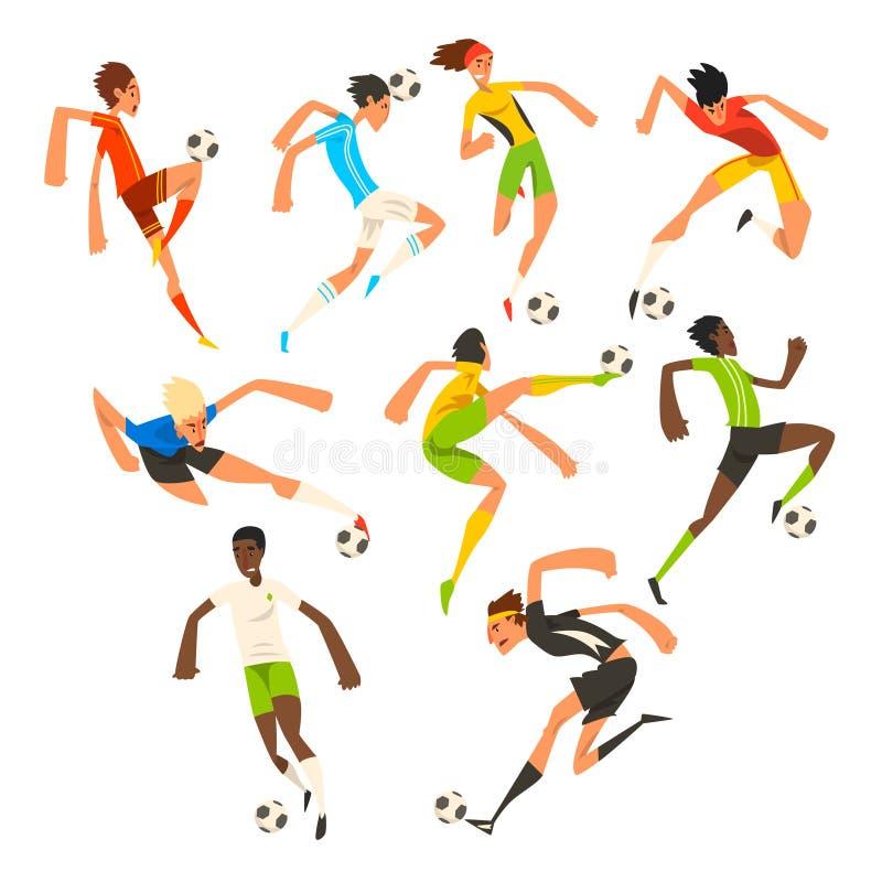Uppsättning för fotbollspelare, fotbollidrottsman nen som spelar, sparkar, utbildar och öva vektorillustrationer på en vit royaltyfri illustrationer