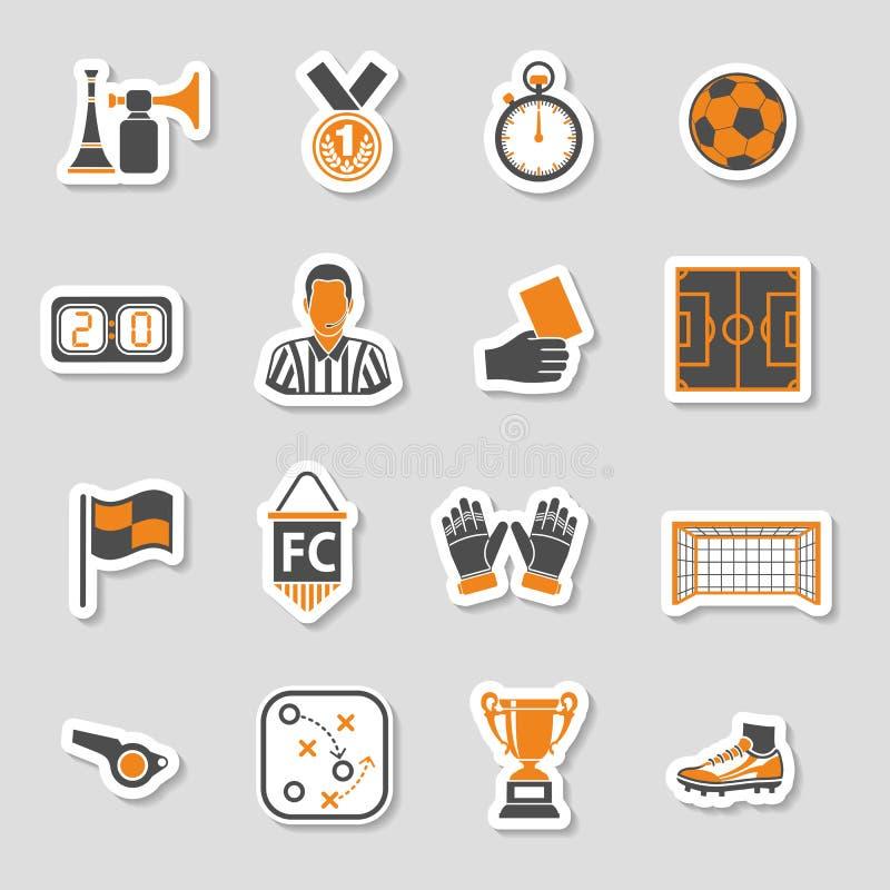 Uppsättning för fotbollsymbolsklistermärke stock illustrationer