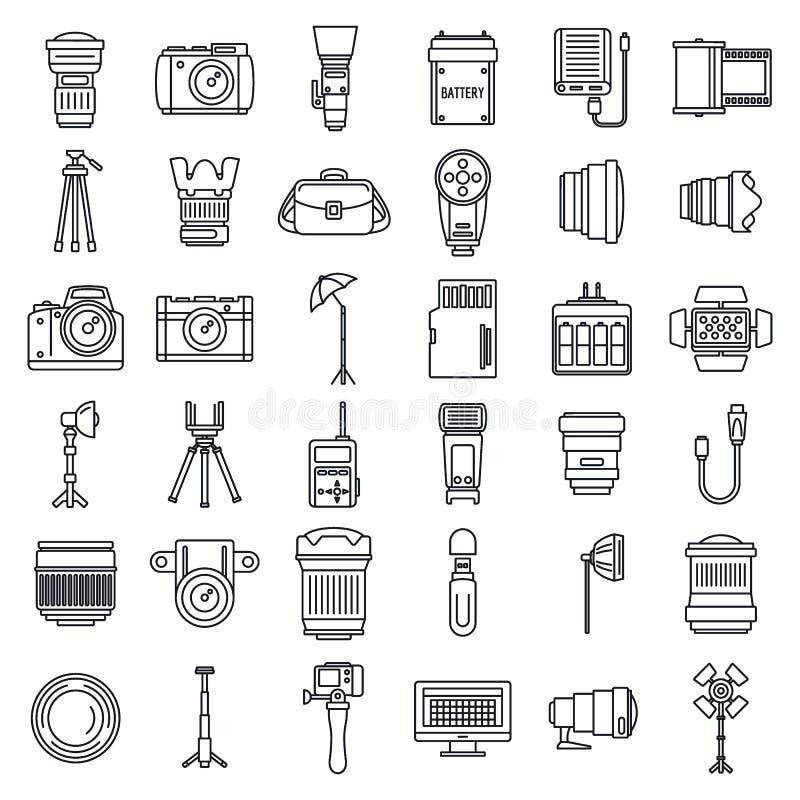 Uppsättning för fotoutrustningsymboler, översiktsstil royaltyfri illustrationer