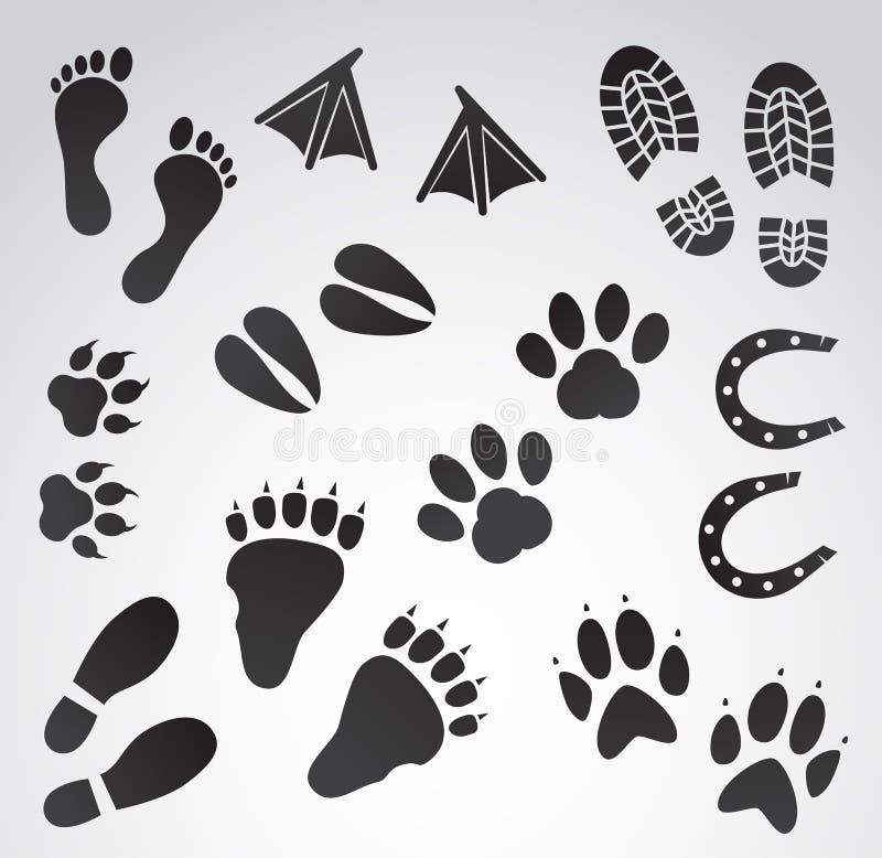 Uppsättning för fotspårvektorsymbol royaltyfri illustrationer