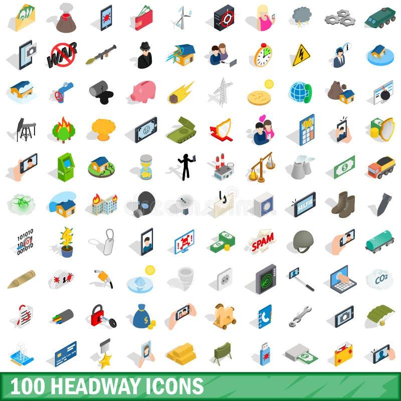 uppsättning för 100 framstegsymboler, isometrisk stil 3d vektor illustrationer
