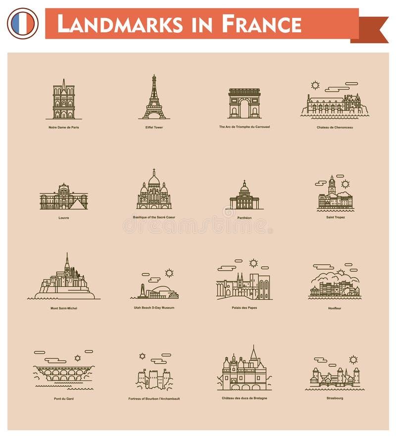 Uppsättning för Frankrike gränsmärkesymbol vektor illustrationer