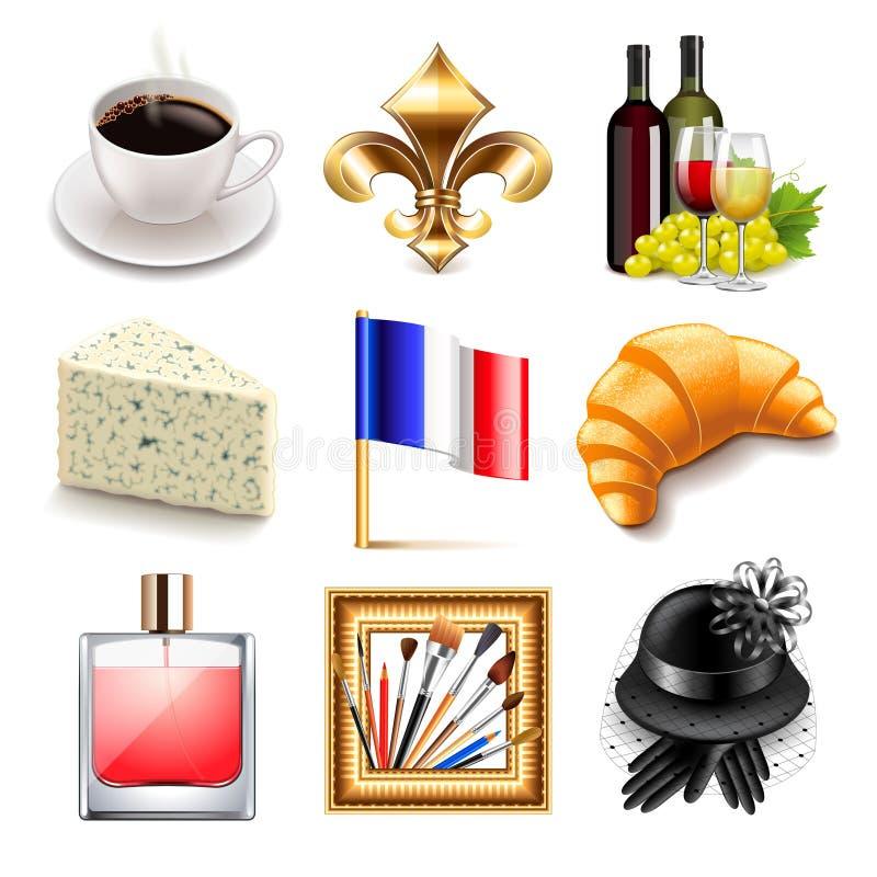 Uppsättning för Frankrike symbolsvektor stock illustrationer