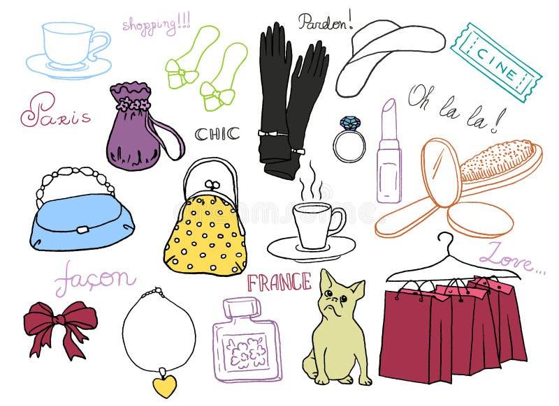 Uppsättning för franskastilsymboler royaltyfri illustrationer