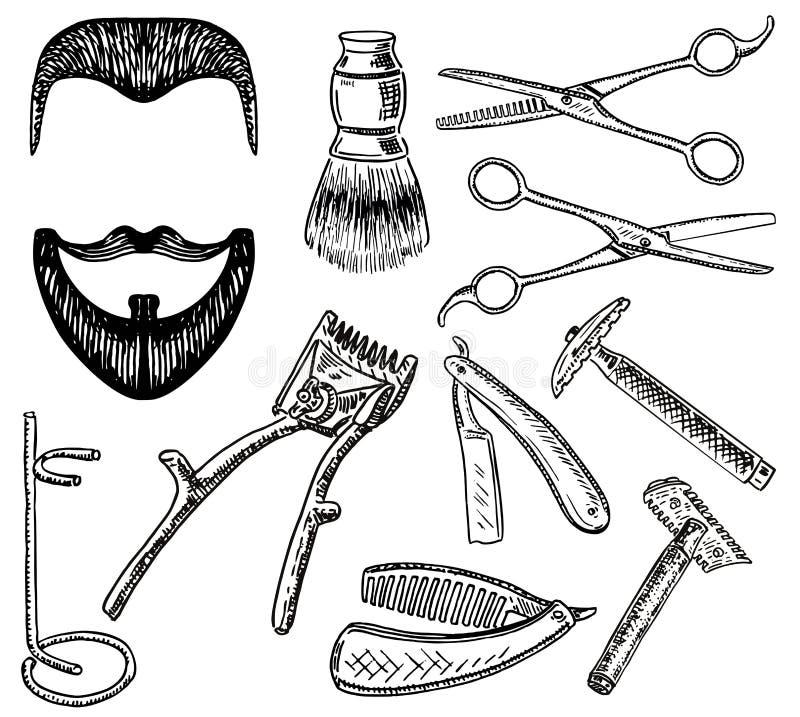 Uppsättning för frisersalong för stil för vektorfärgpulver hand dragen stock illustrationer