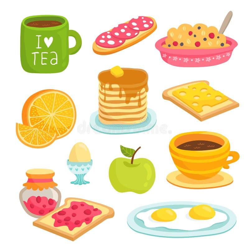 Uppsättning för frukostsymbolstecknad film med olika produkter arkivbilder