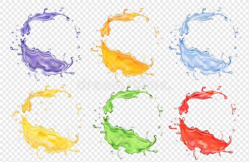 Uppsättning för fruktfruktsaft, genomskinlig realistisk kulör färgstänkvektorsymbol royaltyfri illustrationer