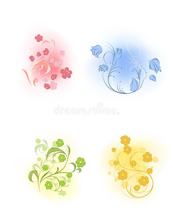 Uppsättning för fyra blommor royaltyfri illustrationer