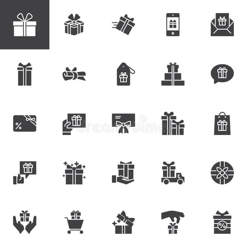 Uppsättning för gåvavektorsymboler royaltyfri illustrationer