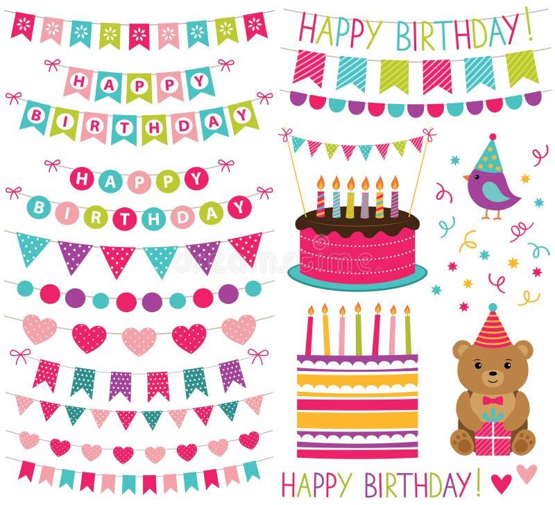 Uppsättning för garnering för ungefödelsedagparti stock illustrationer