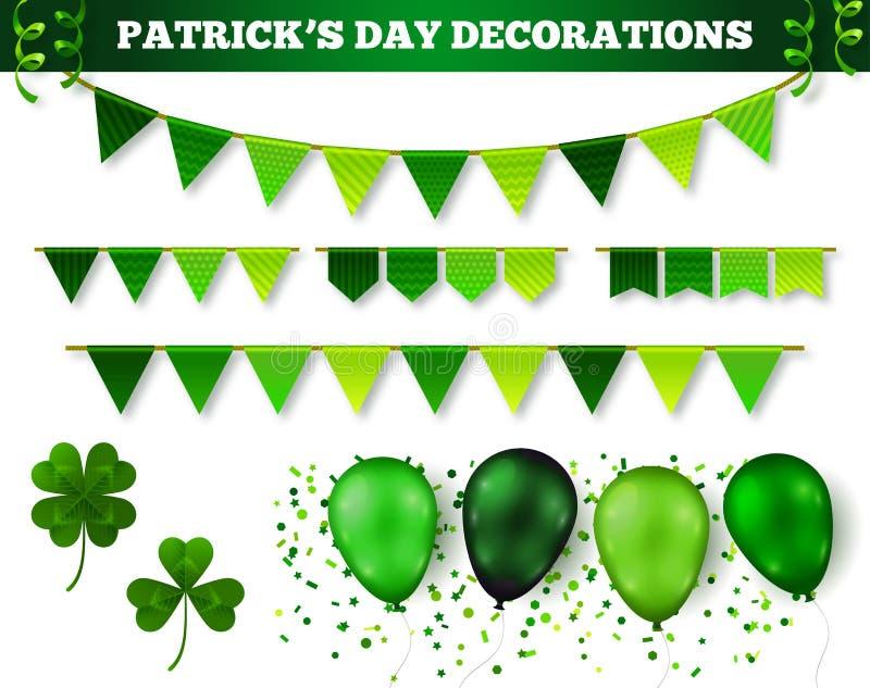 Uppsättning för garneringar för dag för St Patrick ` s vektor illustrationer