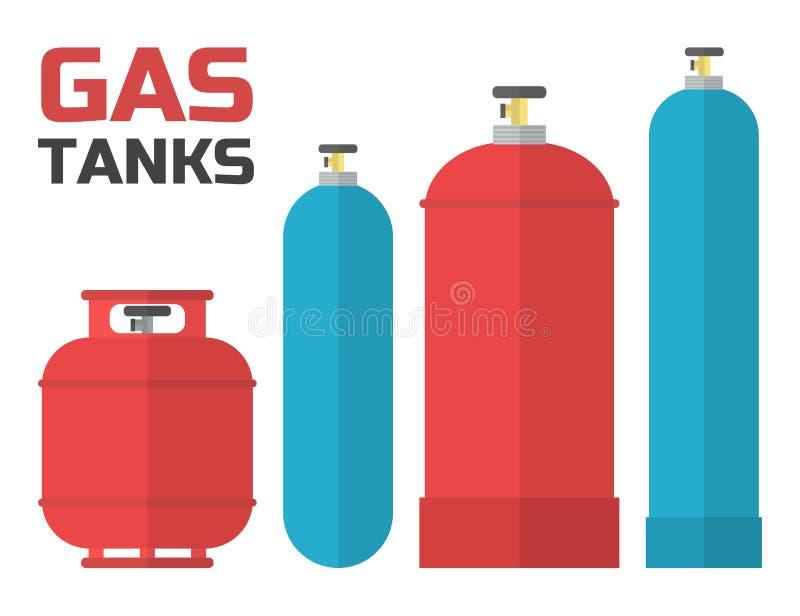 Uppsättning för gasbehållare vektor illustrationer
