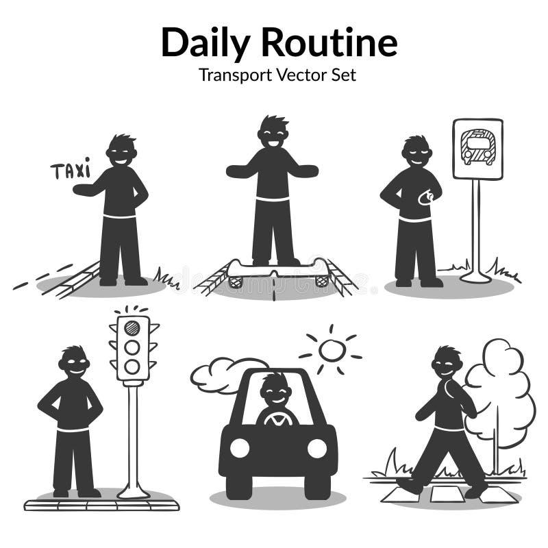 Uppsättning för gatatransportaktiviteter stock illustrationer