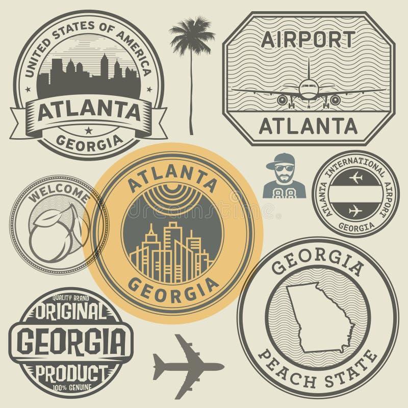 Uppsättning för Georgia statstämplar stock illustrationer