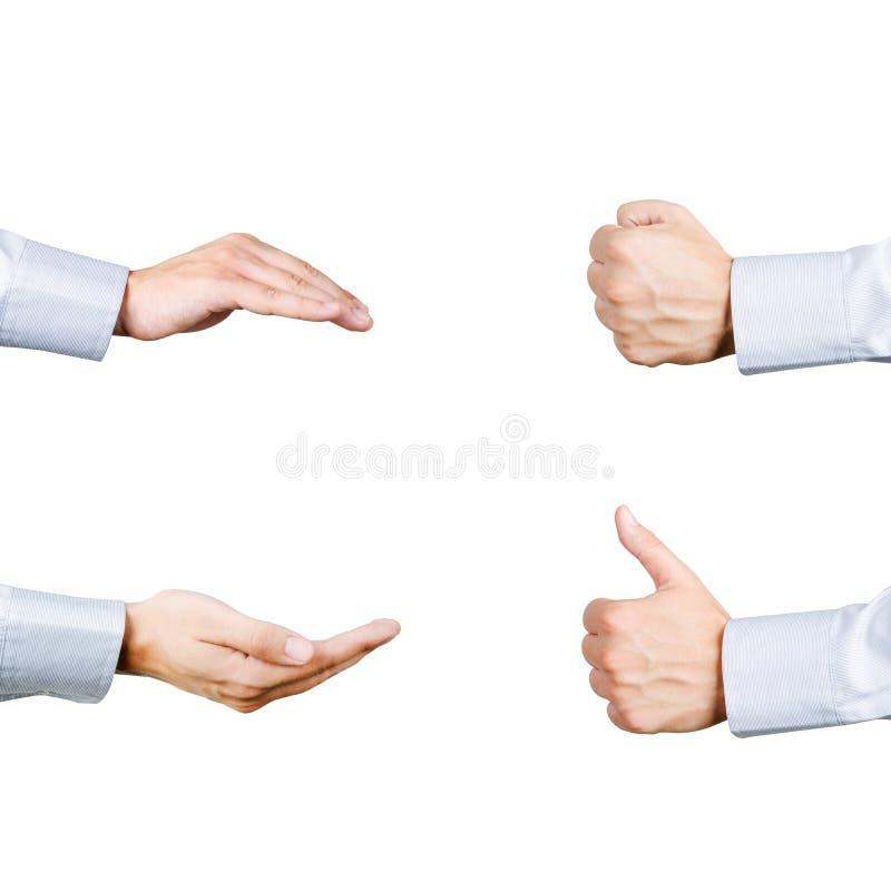 Uppsättning för gester för affärsmanhänder fyra Omsorg ger sig, näven och tummen royaltyfria bilder
