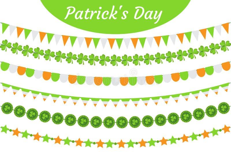 Uppsättning för girland för dag för St Patrick ` s Festlig bunting för garneringar Festa beståndsdelar, flaggor, treklövern, växt stock illustrationer