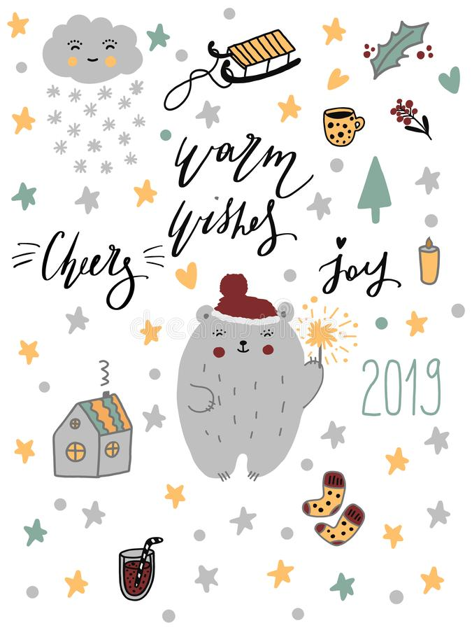 Uppsättning för glad jul för lyckligt nytt år 2019 Handdrawn klottertecken och djur med bokstäver Lösa tecknad filmtecken och ani stock illustrationer