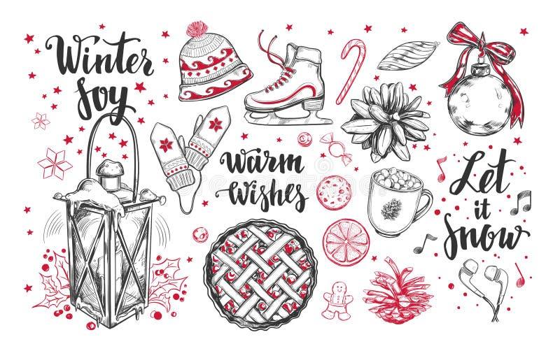 Uppsättning för glad jul och för lyckligt nytt år Drog vinterbeståndsdelar för vektor brushpen handen och moderna kalligrafi Vint stock illustrationer