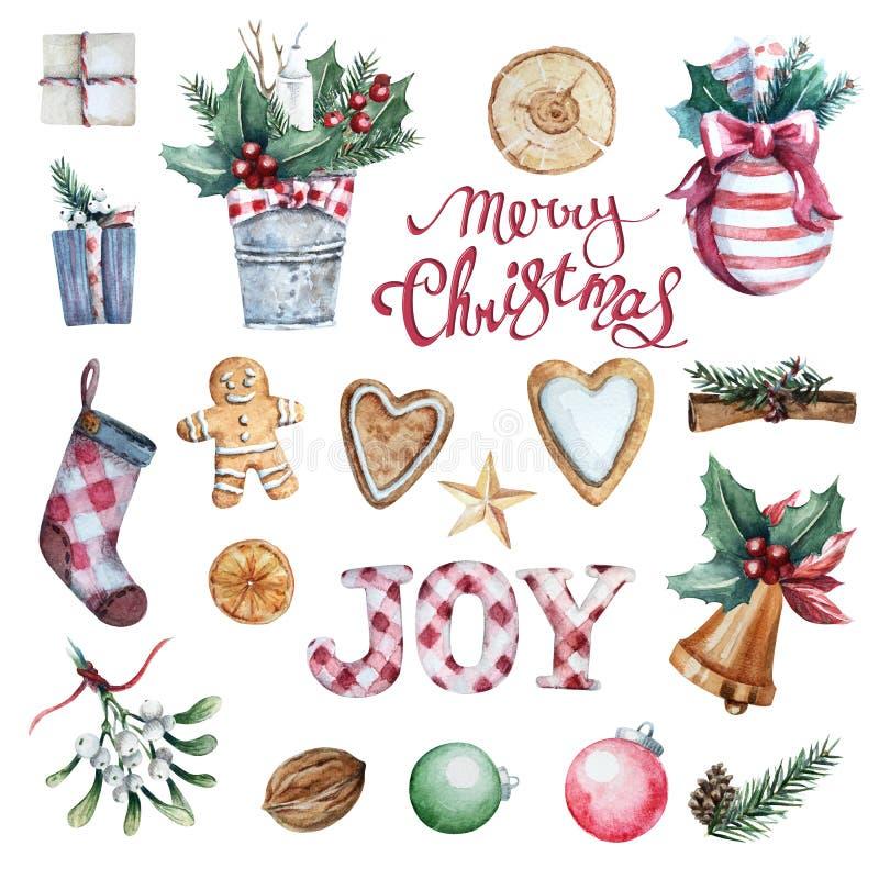 Uppsättning för glad jul för vattenfärg stock illustrationer