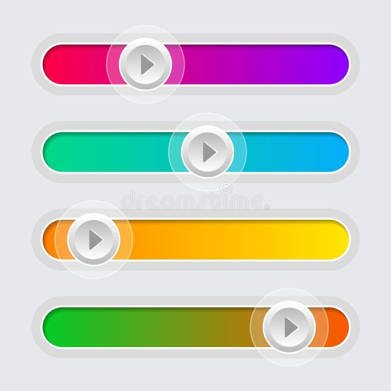 Uppsättning för glidare för kontroll för UI-färgvolym vektor royaltyfri illustrationer