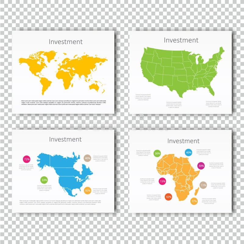 Uppsättning för glidbana för affärsinvestering av USA, mall för glidbana för Nordamerika, Afrika översiktspresentation, affärsori royaltyfri illustrationer