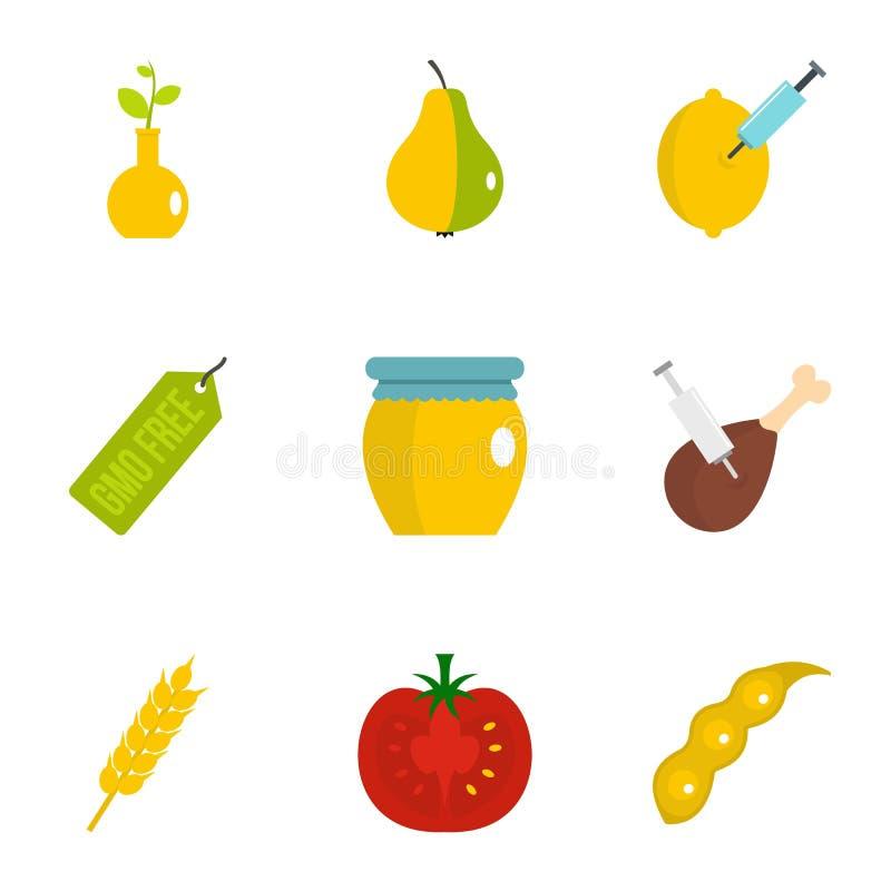 Uppsättning för GMO produktsymbol, lägenhetstil royaltyfri illustrationer