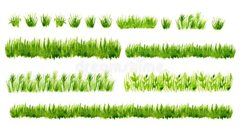 Uppsättning för gränser för grönt gräs för vattenfärg som isoleras på vit bakgrund royaltyfri illustrationer