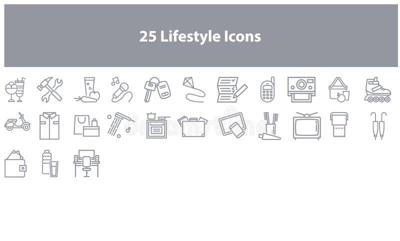 Uppsättning för Gray Online marknadsföringssymbol stock illustrationer