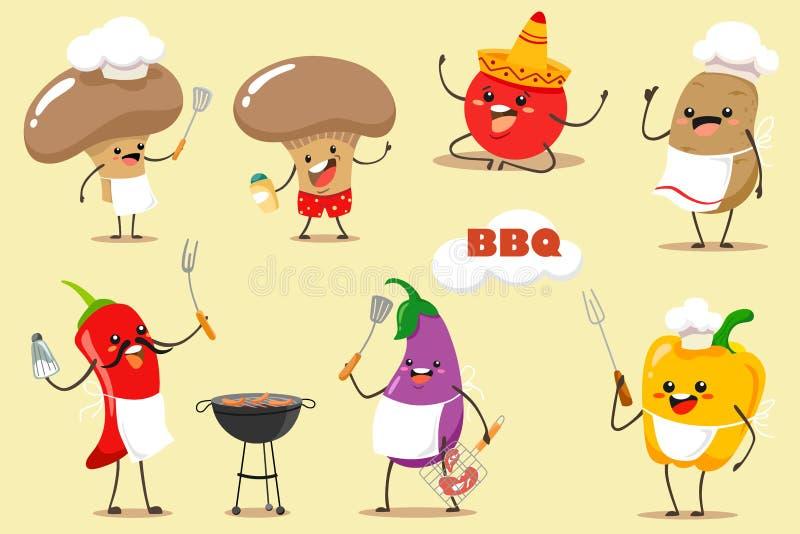 Uppsättning för grillfestgrönsakvektor för bbq-parti och picknick Roliga och tecknad filmgrönsaker chili, champinjoner, aubergine vektor illustrationer