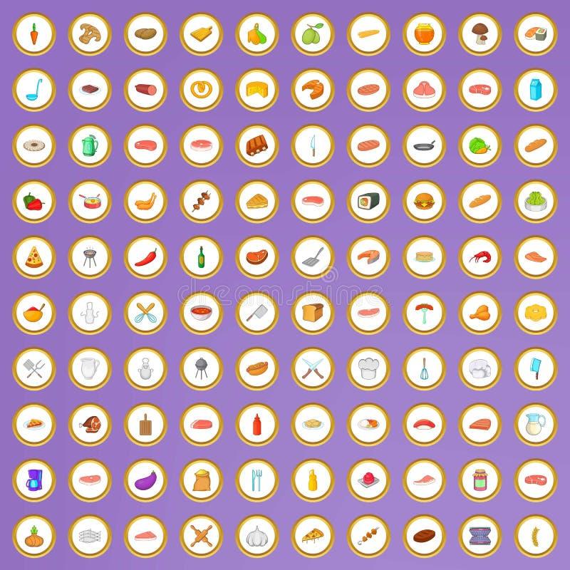 uppsättning för 100 grillfestsymboler i tecknad filmstil vektor illustrationer
