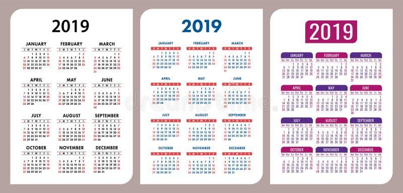 Uppsättning 2019 för grundläggande raster för kalendervektor Stilfull designmallgro vektor illustrationer