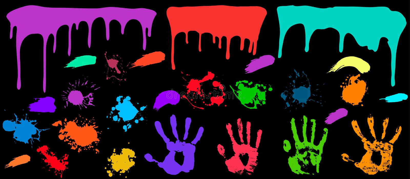 Uppsättning för Grungefärgstänkmålarfärg stock illustrationer