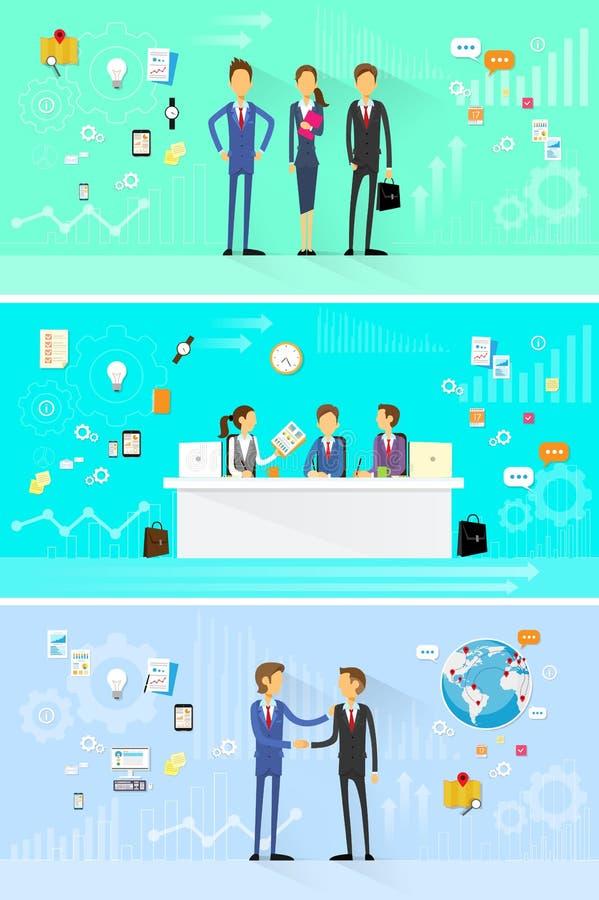Uppsättning för grupp för affärsfolk funktionsduglig, handskakning stock illustrationer