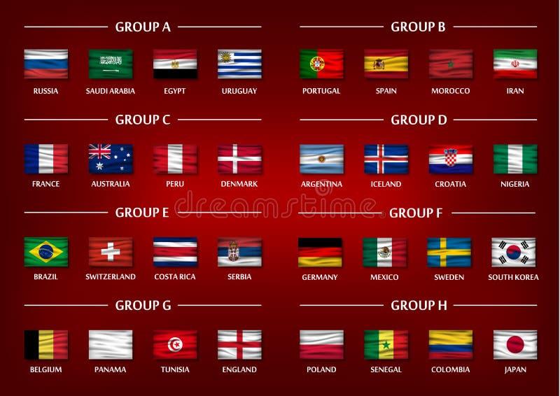 Uppsättning för grupp för fotbollkopplag Realistiska krabba nationsflaggor på bakgrund för röd färg för lutning Vektor för intern royaltyfri illustrationer