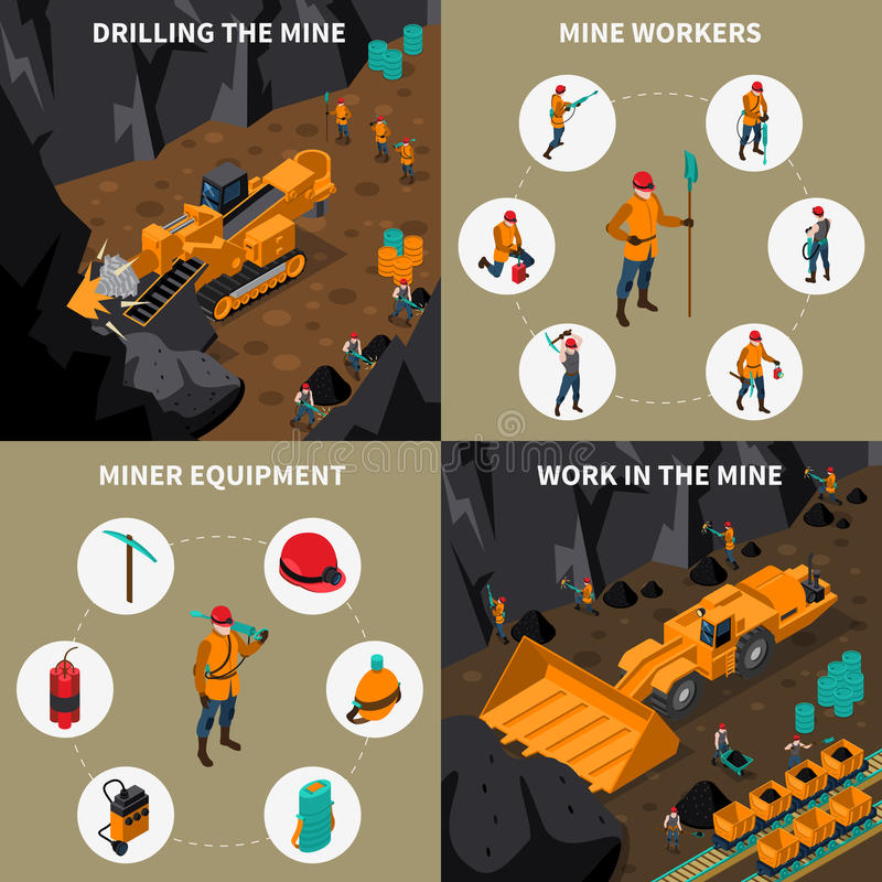 Uppsättning för gruvarbetarePeople 2x2 isometrisk symboler vektor illustrationer