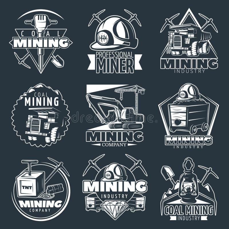 Uppsättning för gruvbolagetemblem royaltyfri illustrationer