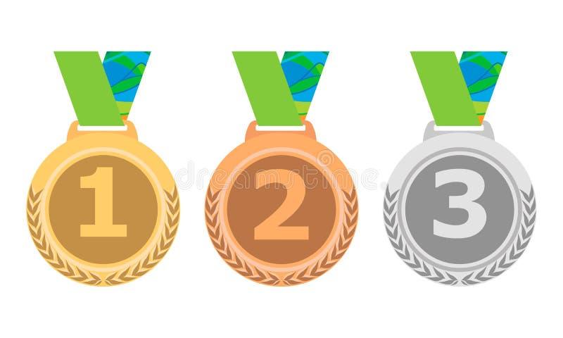 Uppsättning för guld- silver- och bronsmedaljsymbol Vektor isolerade medaljer på vit bakgrund eps10 vektor illustrationer