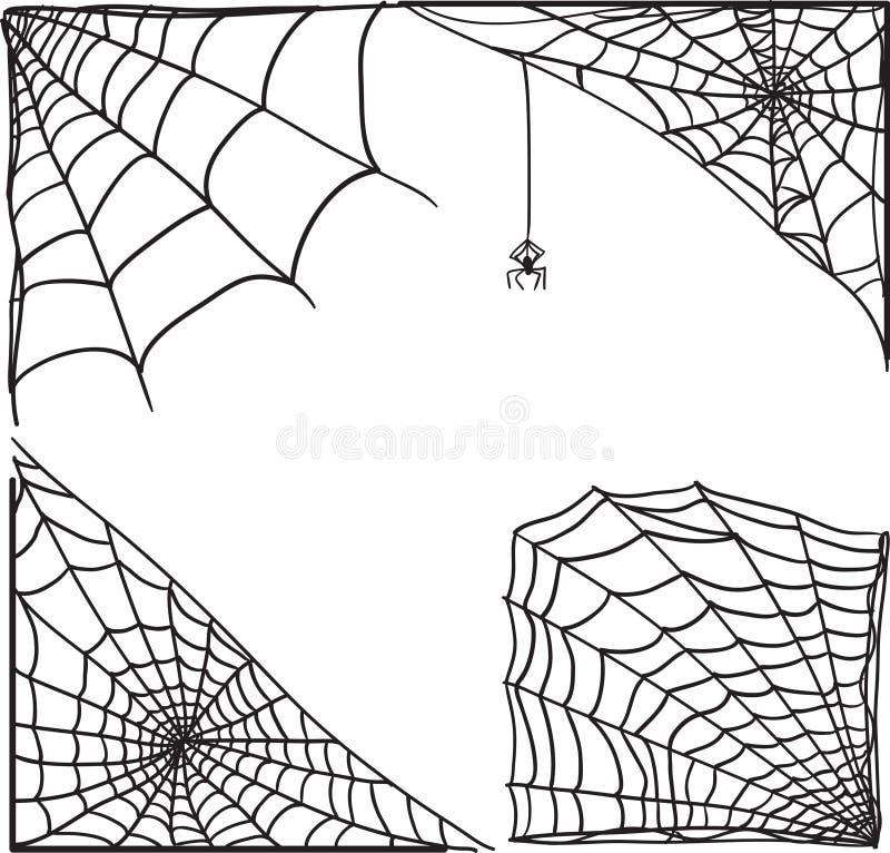 Uppsättning för hörn för spindelrengöringsduk stock illustrationer