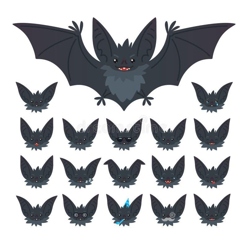 Uppsättning för Hallowen teckenemoticon Vektorillustrationen av gulliga flyggrå färger slår till vampyren och det den s slagträ-g stock illustrationer