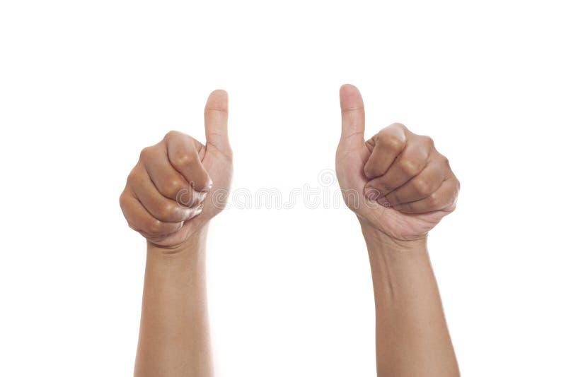 Uppsättning för handgest som isoleras på vit, tummar upp aproval reko tecken arkivbild