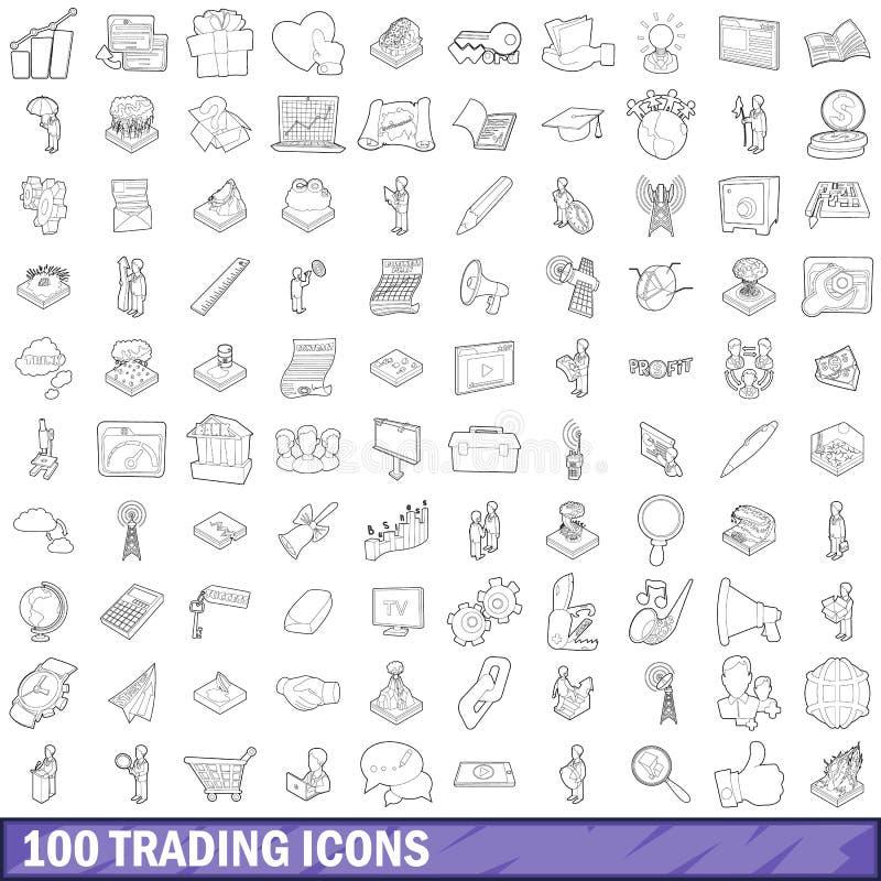 uppsättning för 100 handla symboler, översiktsstil stock illustrationer