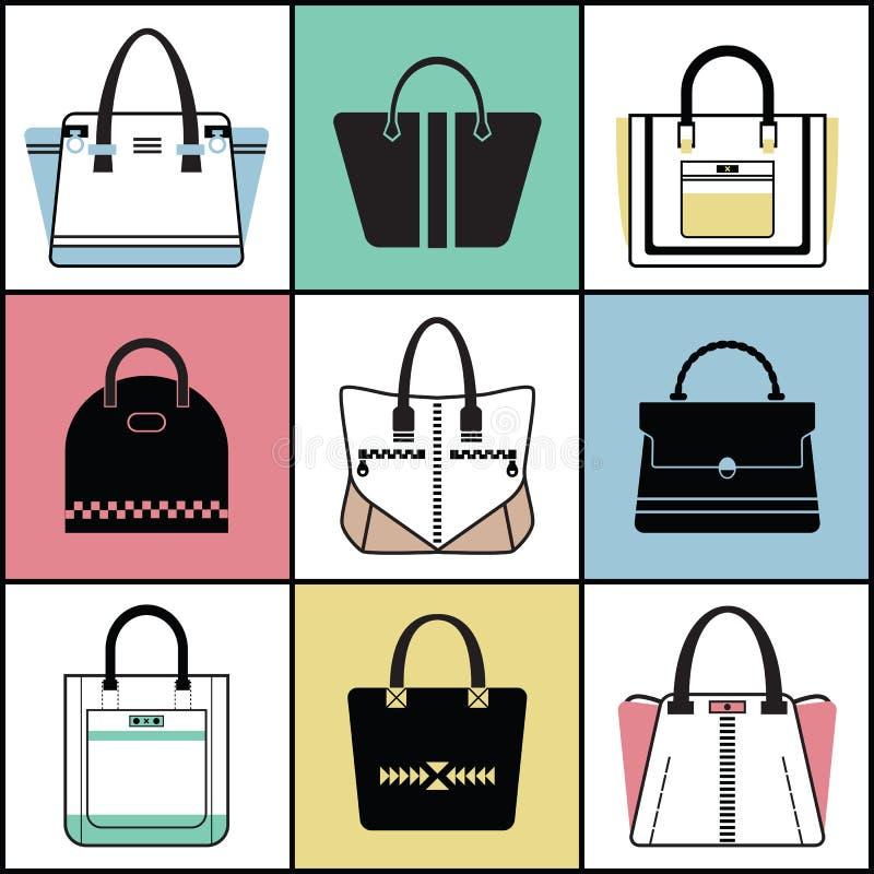 Uppsättning för handväska för trendiga kvinnor för översikt och för kontur vektor illustrationer