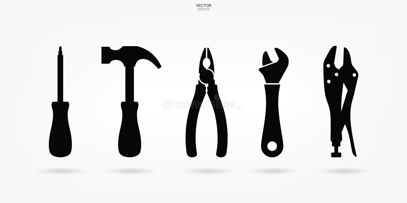 Uppsättning för hantverkarehjälpmedelsymbol Teknikerhjälpmedeltecken och symbol vektor vektor illustrationer